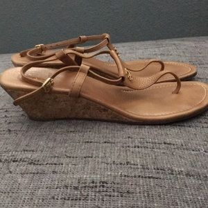 cbabd5e68d5f Tory Burch Shoes - Tory Burch Britton Nude Cork Wedge Sandals 10.5